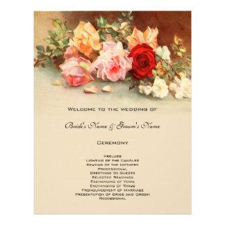 ヴィンテージの結婚式プログラムのアンティークのばら色の花の花柄 チラシ