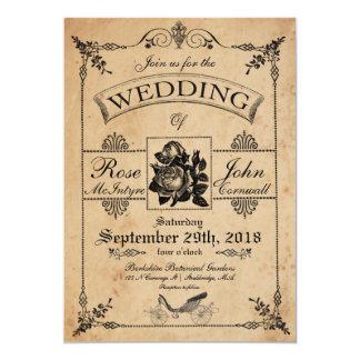 ヴィンテージの結婚式招待状のロマンチックなバラ園 カード