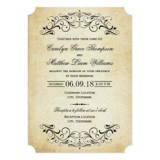 ヴィンテージの結婚式招待状|のエレガントな華麗さ 12.7 X 17.8 インビテーションカード