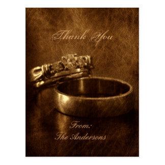 ヴィンテージの結婚指輪の素朴な結婚式は感謝していしています ポストカード