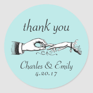 ヴィンテージの結婚指輪は水のステッカー感謝していしています 丸形シール・ステッカー