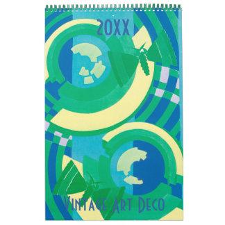 ヴィンテージの絵のアールデコのPochoirパターン カレンダー