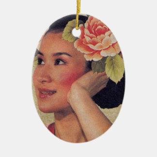 ヴィンテージの絵の中国人の女性 セラミックオーナメント