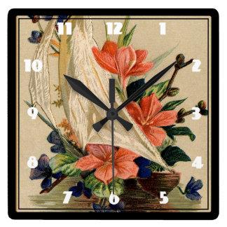 ヴィンテージの絵を描くこと-ヨットの花 スクエア壁時計