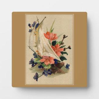 ヴィンテージの絵を描くこと-ヨットの花 フォトプラーク