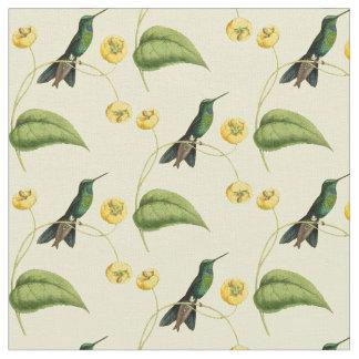 ヴィンテージの緑によって戴冠させる華麗なハチドリ ファブリック