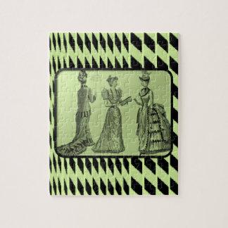 ヴィンテージの緑の女性のジグソーパズル パズル
