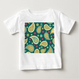 ヴィンテージの緑の茶色のペーズリーの花柄パターン ベビーTシャツ