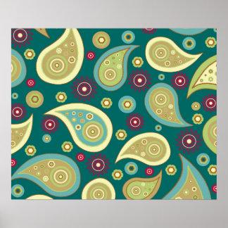 ヴィンテージの緑の茶色のペーズリーの花柄パターン ポスター