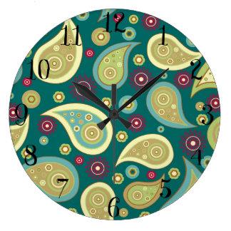 ヴィンテージの緑の茶色のペーズリーの花柄パターン ラージ壁時計