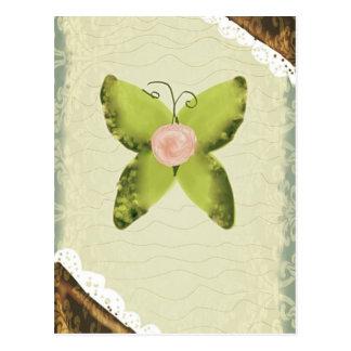 ヴィンテージの緑の蝶およびレース ポストカード