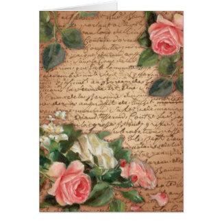 ヴィンテージの羊皮紙およびぼろぼろのシックなバラ カード
