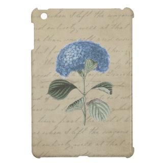 ヴィンテージの羊皮紙の青いアジサイ iPad MINIケース