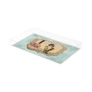 ヴィンテージの美しいによって組み立てられる真新しい緑バラの虚栄心の皿 アクリルトレー