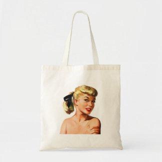 ヴィンテージの美しいのポートレートを浸すレトロの女性Pin トートバッグ