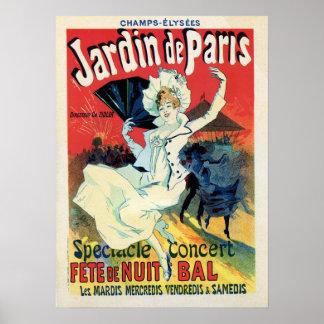 ヴィンテージの美女の新紀元のjardin deパリ夜パーティー ポスター