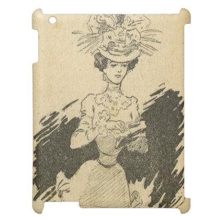 ヴィンテージの美女の新紀元、名刺を持つ女性 iPadケース