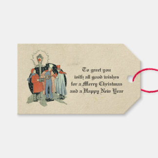 ヴィンテージの老化するビクトリアンなクリスマスの聖歌隊の休日 ギフトタグ