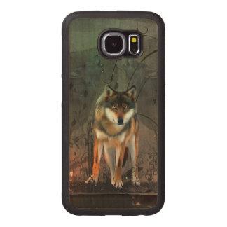 ヴィンテージの背景の素晴らしいオオカミ ウッドケース