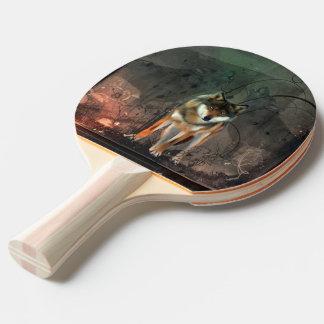 ヴィンテージの背景の素晴らしいオオカミ 卓球ラケット
