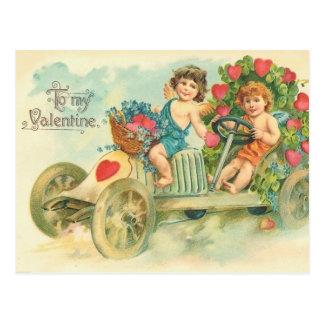 ヴィンテージの自動車バレンタインの郵便はがき ポストカード