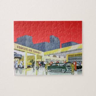 ヴィンテージの自動車整備士は車サービスガレージを完了します ジグソーパズル