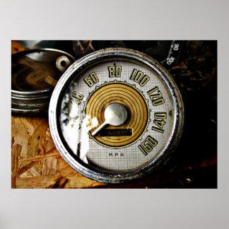 ヴィンテージの自動車速度のゲージ ポスター