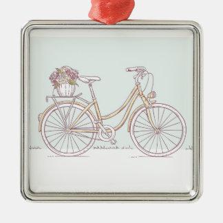 ヴィンテージの自転車のスケッチの花のバスケット メタルオーナメント