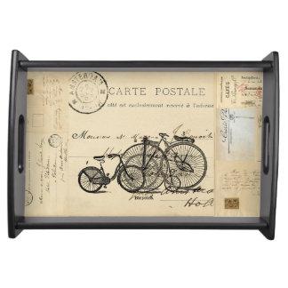 ヴィンテージの自転車のフランスのな郵便はがきの皿 トレー
