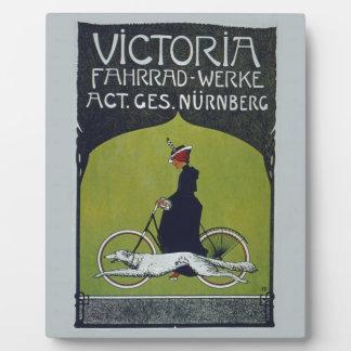 ヴィンテージの自転車女性及び犬 フォトプラーク
