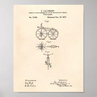ヴィンテージの自転車1877のパテントの芸術の古いPeperポスター ポスター