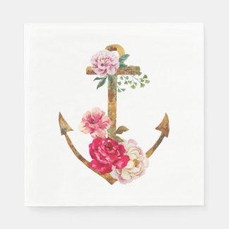 ヴィンテージの航海のないかりのピンク及び赤いシャクヤクの花 スタンダードランチョンナプキン