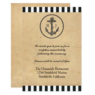 ヴィンテージの航海のないかり-披露宴の招待状 カード