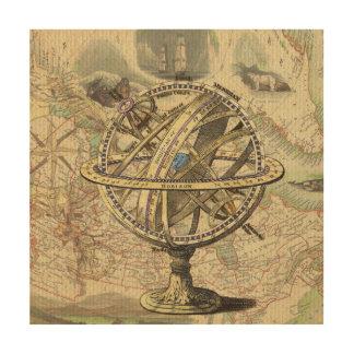 ヴィンテージの航海のなコンパスおよび地図 ウッドウォールアート