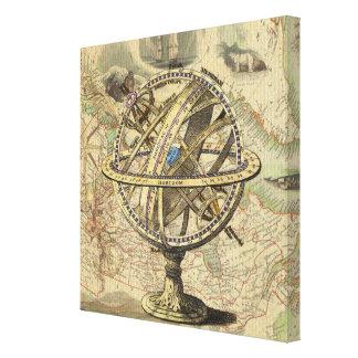 ヴィンテージの航海のなコンパスおよび地図 キャンバスプリント
