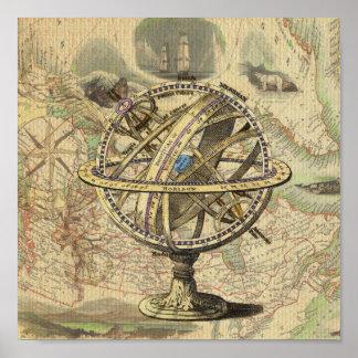 ヴィンテージの航海のなコンパスおよび地図 ポスター