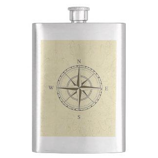ヴィンテージの航海のなコンパス面図のアイボリー フラスク
