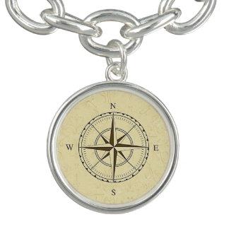 ヴィンテージの航海のなコンパス面図のアイボリー ブレスレット