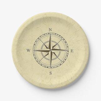 ヴィンテージの航海のなコンパス面図のアイボリー ペーパープレート