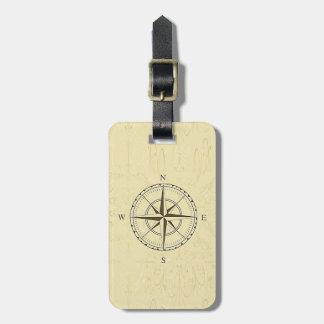 ヴィンテージの航海のなコンパス面図のアイボリー ラゲッジタグ