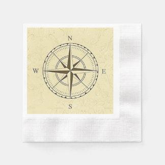 ヴィンテージの航海のなコンパス面図のアイボリー 縁ありカクテルナプキン