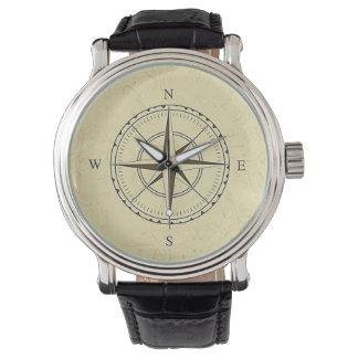 ヴィンテージの航海のなコンパス面図のアイボリー 腕時計