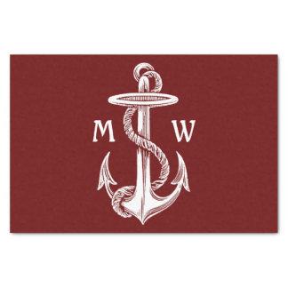 ヴィンテージの航海のな白いいかりロープのワインレッド 薄葉紙