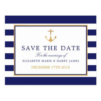 ヴィンテージの航海のな金ゴールドのいかりの結婚式の保存日付 ポストカード