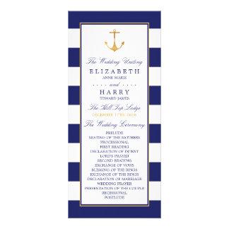 ヴィンテージの航海のな金ゴールドのいかりの結婚式プログラム ラックカード