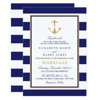 ヴィンテージの航海のな金ゴールドのいかりの結婚式 カード