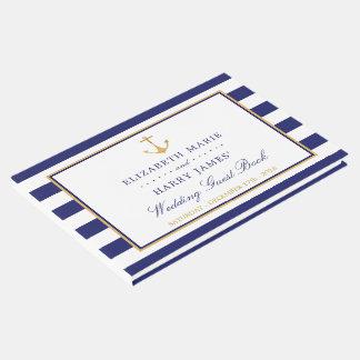 ヴィンテージの航海のな金ゴールドのいかりの結婚式 ゲストブック