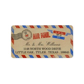 ヴィンテージの航空郵便の結婚式のコレクション 宛名ラベル