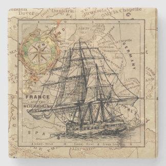 ヴィンテージの船および地図 ストーンコースター