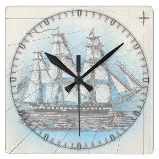 ヴィンテージの船の柱時計 スクエア壁時計